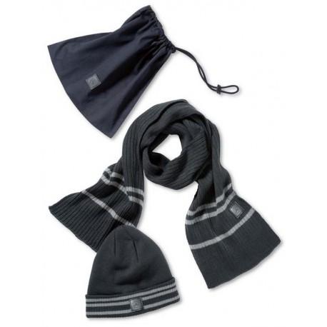 Original Mercedes-Benz Strickmütze und Schal Set schwarz / grau