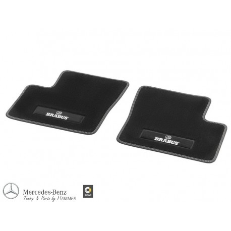 Original smart fortwo forfour 453 BRABUS Fußmatten hinten Velour schwarz, Nähte silber
