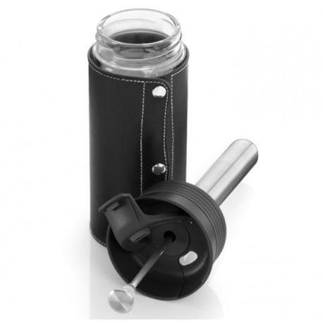 Original Mercedes-Benz Thermobecher, Isolierbecher, Trinkbecher - schwarz, Glas / Leder