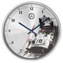 Original Mercedes Benz Wanduhr, Uhr Aluminium blau / rot / Glas