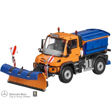 Original Mercedes-Benz Unimog, U430, Winterdienst orange, NZG, 1:50 Modelfahrzeug