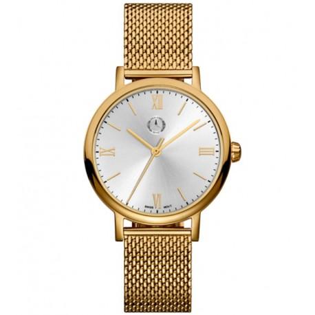 Original Mercedes-Benz Armbanduhr Damen, Classic, Lady Roman goldfarben, Edelstahl