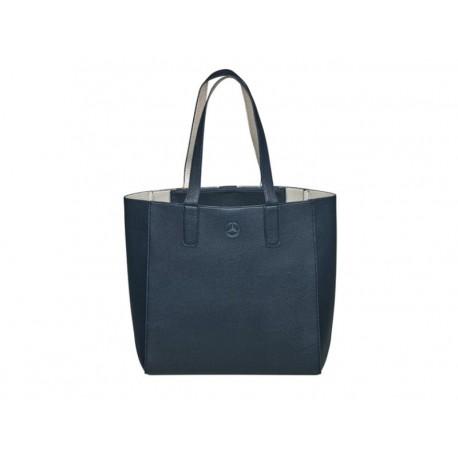 Original Mercedes-Benz Shopper Tragetasche Schultertasche blau / silberfarben