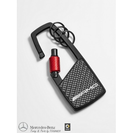 Original Mercedes-Benz AMG Schlüsselanhänger Karabiner schwarz / rot