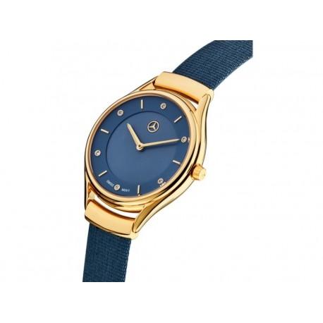 Original Mercedes Benz Armbanduhr Damen Fashion Gold Blau B66953564