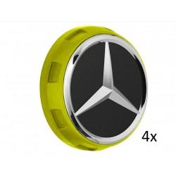 4x Original Mercedes-Benz Nabendeckel Radnabendeckel gelb A00040009001127