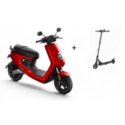 NIU MQi Sport Elektro Roller rot Zweisitzer + E-Scooter Doc Green ESA2000
