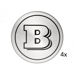 4x Orig. smart 453 BRABUS Nabenabdeckungen glanzgedreht matt A4534000500C56B