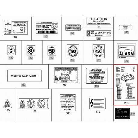 Original Mercedes-Benz Belegungsblatt Sicherungsbelegung im E-Fach